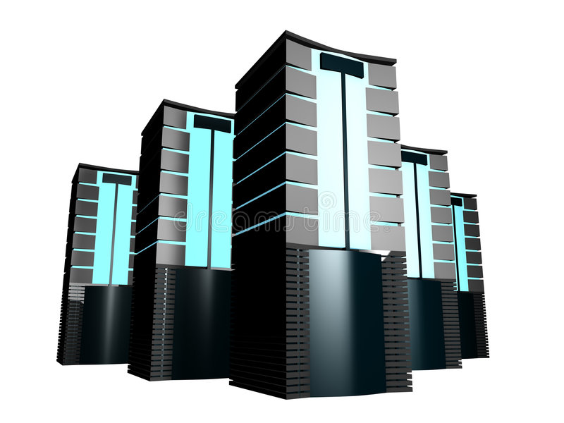 Group 3d servers royalty free illustration