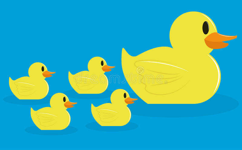 Group Of Adorable Cartoon Ducks Isolated. Vector Group Of Adorable Cartoon Ducks Isolated vector illustration