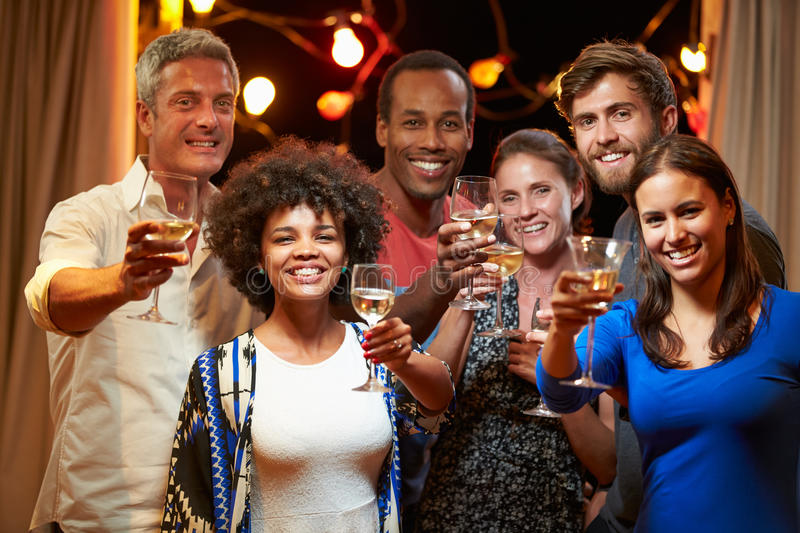 Group of adult friends at party making a toast stock photo
