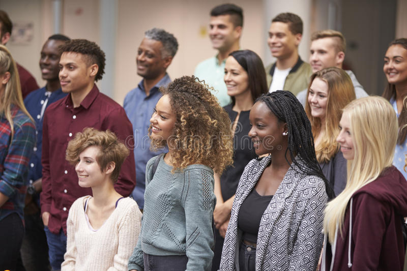 Group of adult students at university, waist up view stock image