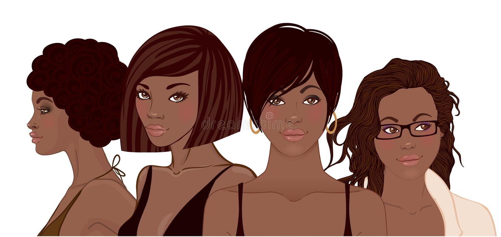 Group of African American pretty girls. Female portrait. Black b royalty free illustration