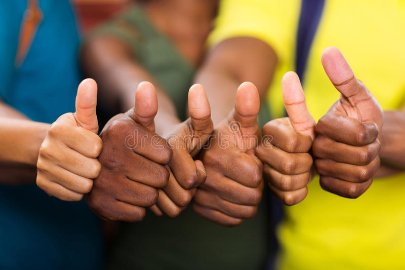 Group african thumbs up royalty free stock photography
