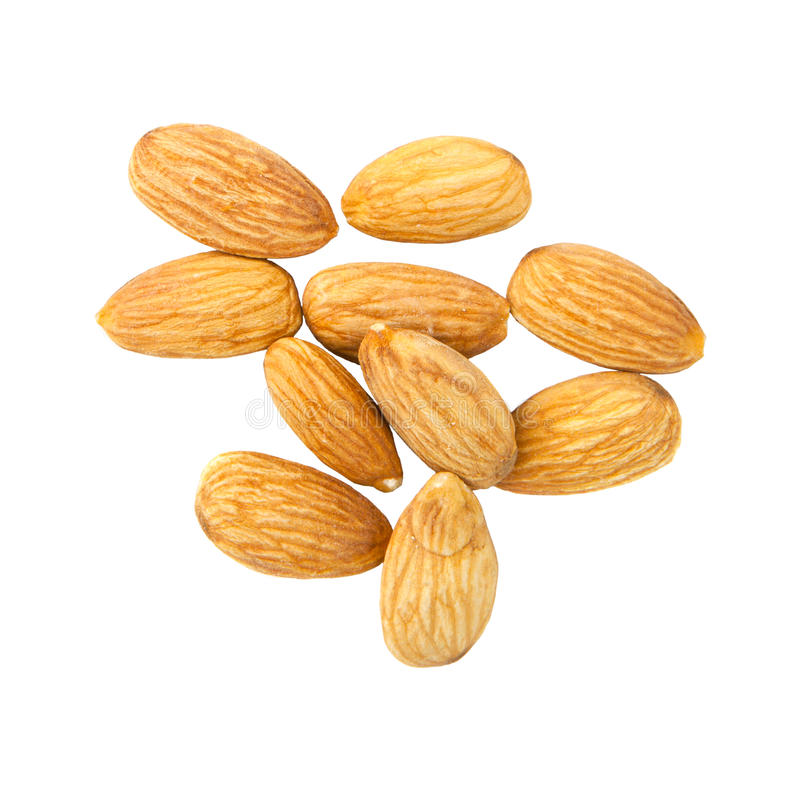 Group Of Almond Isolated On White Background Stock Images