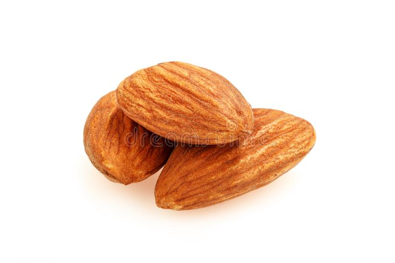 Group of almond nuts isolated on white background. Full depth of fieldm stock image