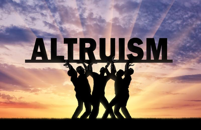 Group of altruistic men hold the big word altruism stock image
