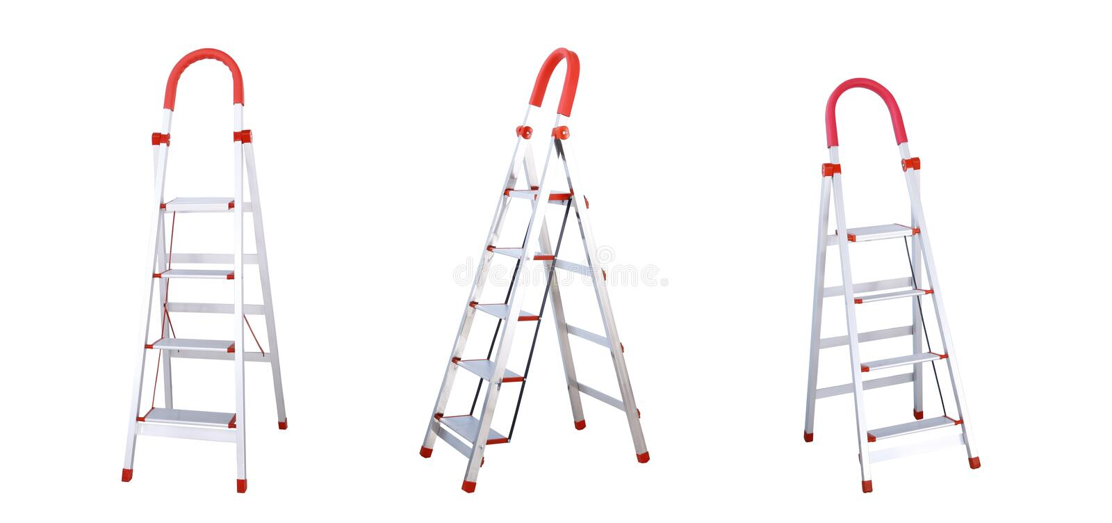 Aluminum folding ladders with hand bar isolated on white background. royalty free stock photos