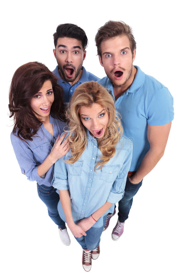 Group Of Amazed And Surprised Casual People Stock Photography