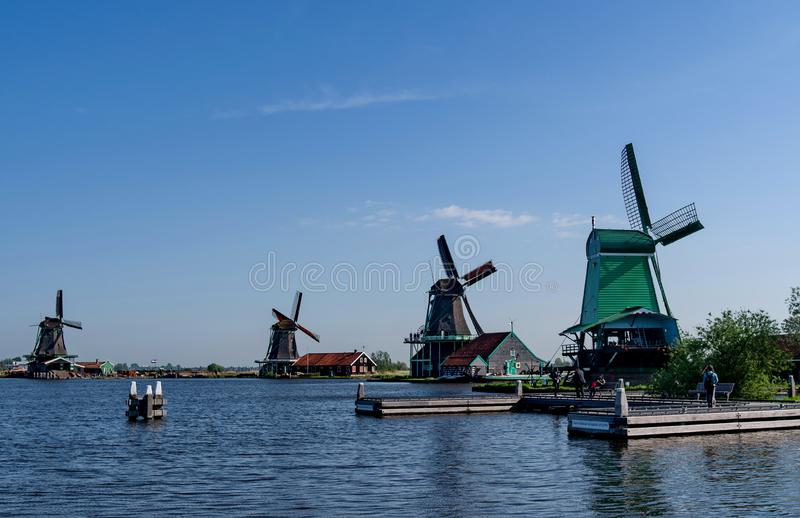 A group of ancient windmills on the outskirts of Amsterdam, Netherlands stock photos