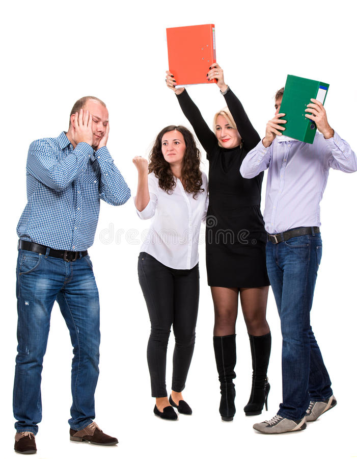 Group of angry business people stock photo