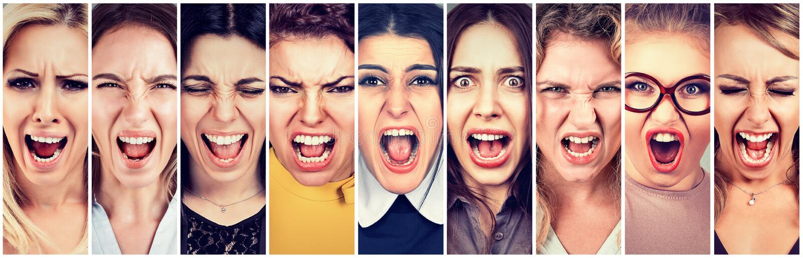 Group of angry people screaming royalty free stock image
