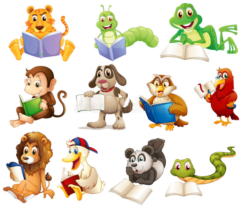 A group of animals reading stock illustration