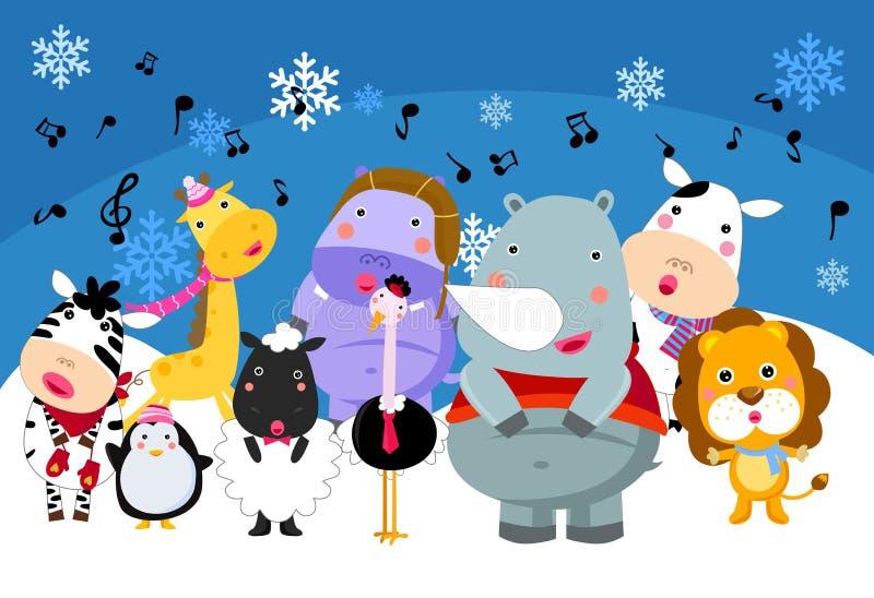 Group of animals singing vector illustration