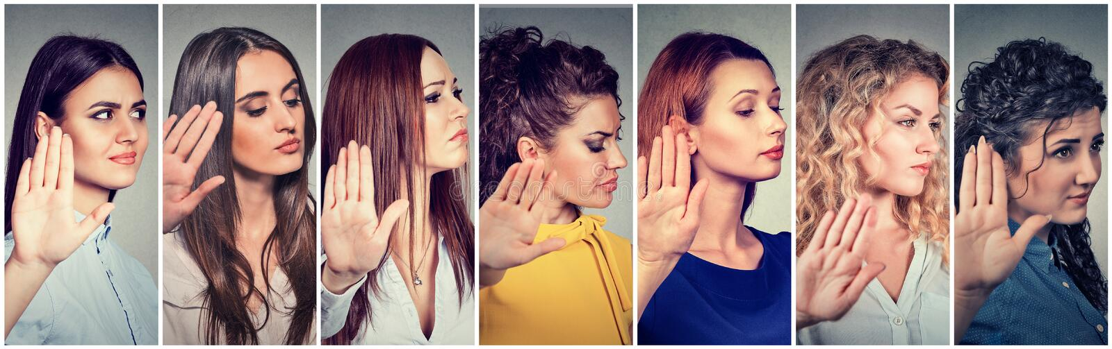 Group of annoyed angry women with bad attitude stock photo