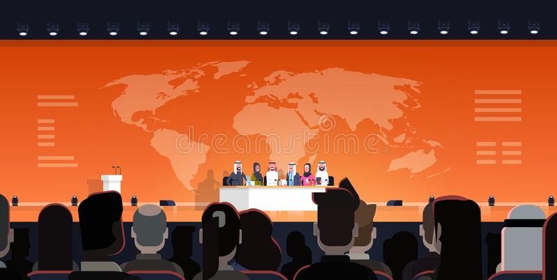 Group Of Arab Business People On Conference Public Debate Interview Over World Map Background Official Meeting Of Arabic royalty free illustration