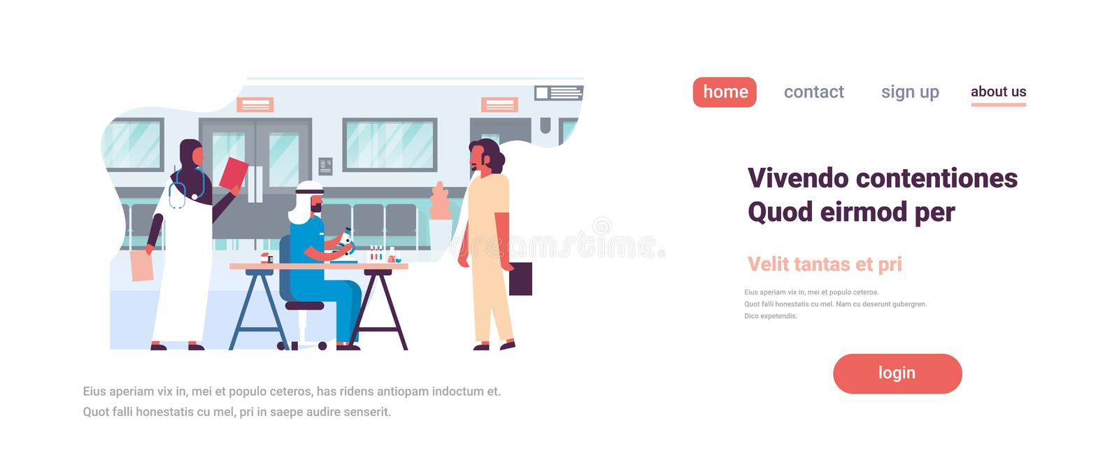 Group arab woman man doctors stethoscope hospital communication diverse arabic medical workers flat full length copy royalty free illustration
