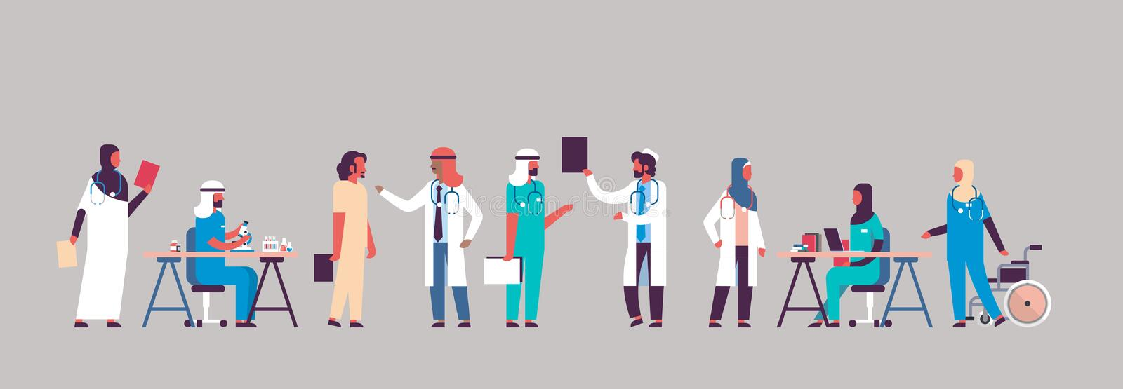 Group arabic doctors hospital communication making scientific experiments diverse medical workers arab man woman cartoon royalty free illustration