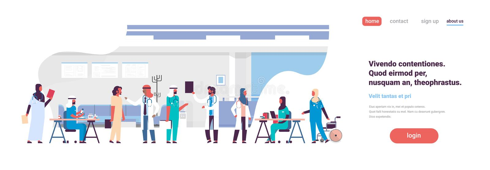 Group arabic doctors hospital communication making scientific experiments diverse medical workers modern clinic interior stock illustration