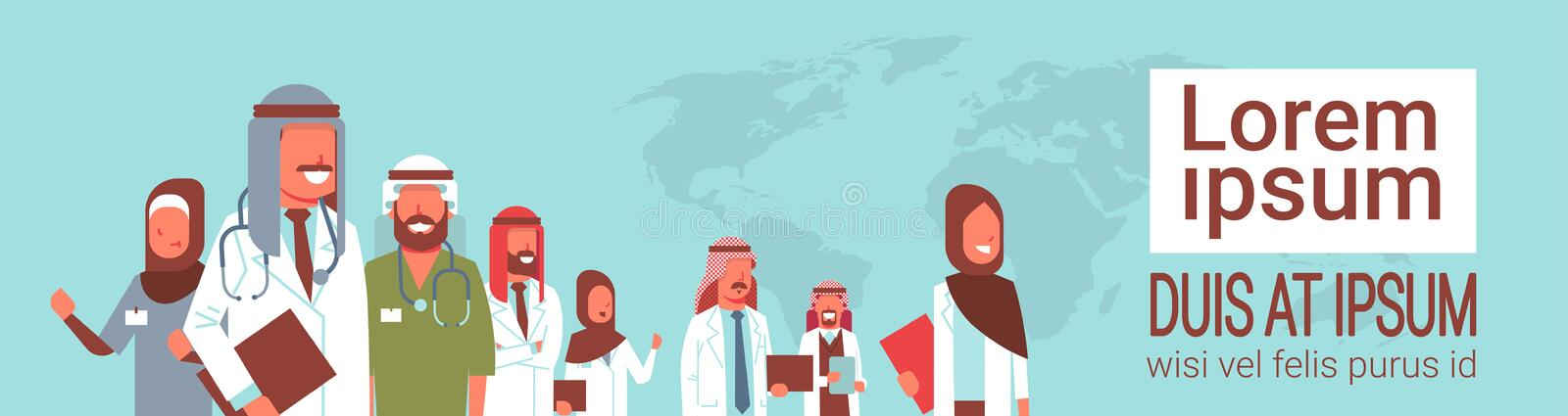 Group of arabic doctors team standing together meeting conference concept arab medical hospital workers over world map vector illustration