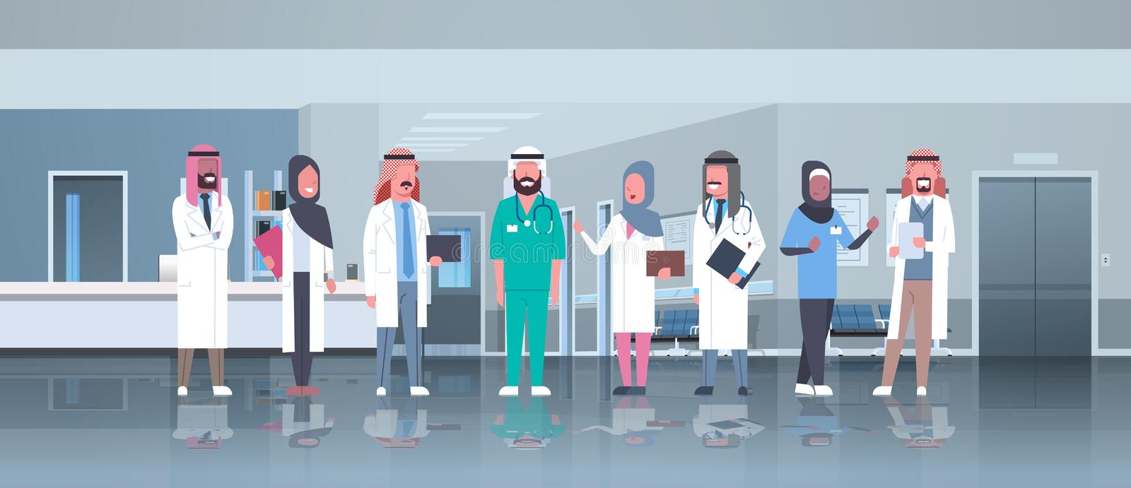 Group of arabic doctors team treatment communication concept arab medical hospital mix race workers standing together stock illustration