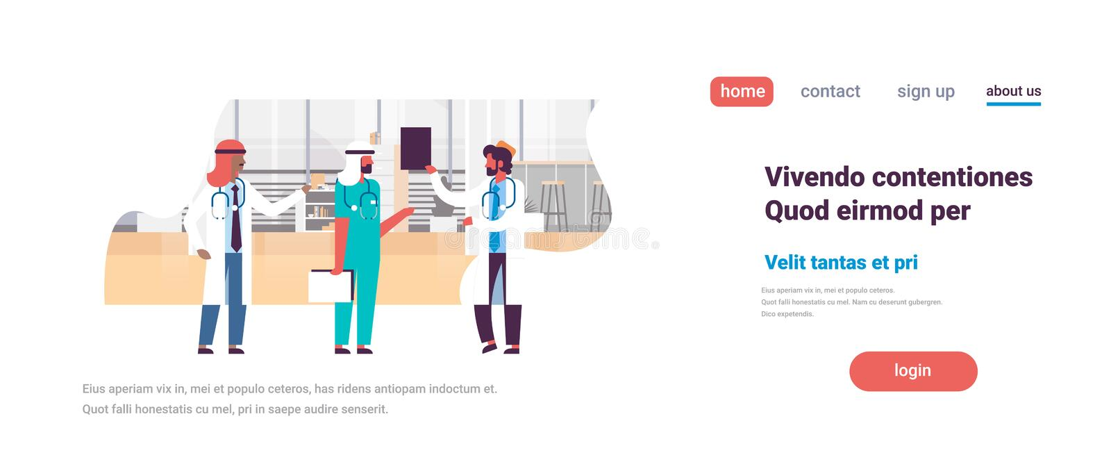 Group arabic men doctors stethoscope hospital communication diverse arab man medical workers flat full length copy space stock illustration