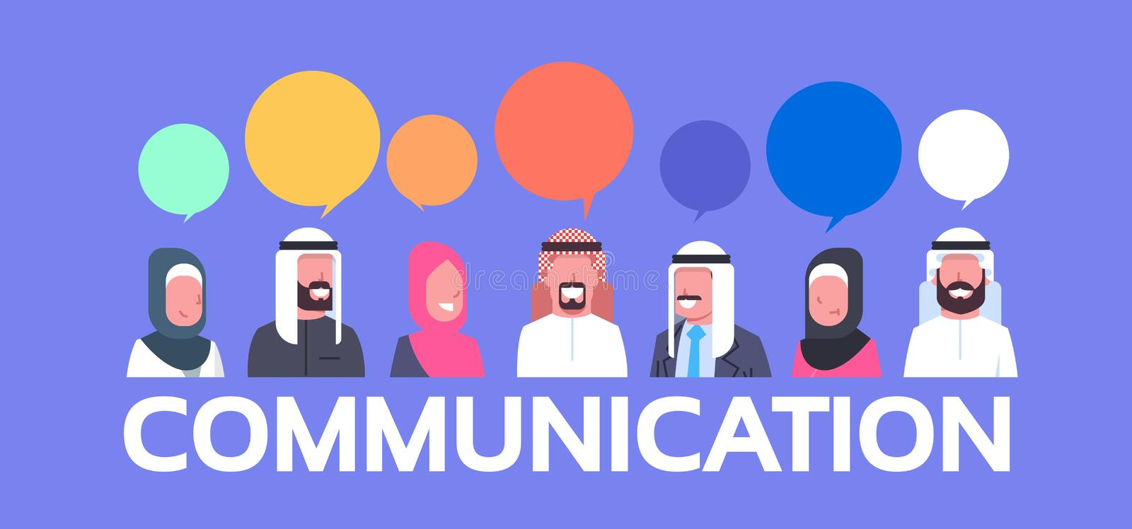 Group Of Arabic People With Chat Bubbles Communication Concept Arab Business Men And Women vector illustration
