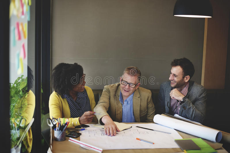 Group Architect Meeting Planning Blueprint Concept royalty free stock photos
