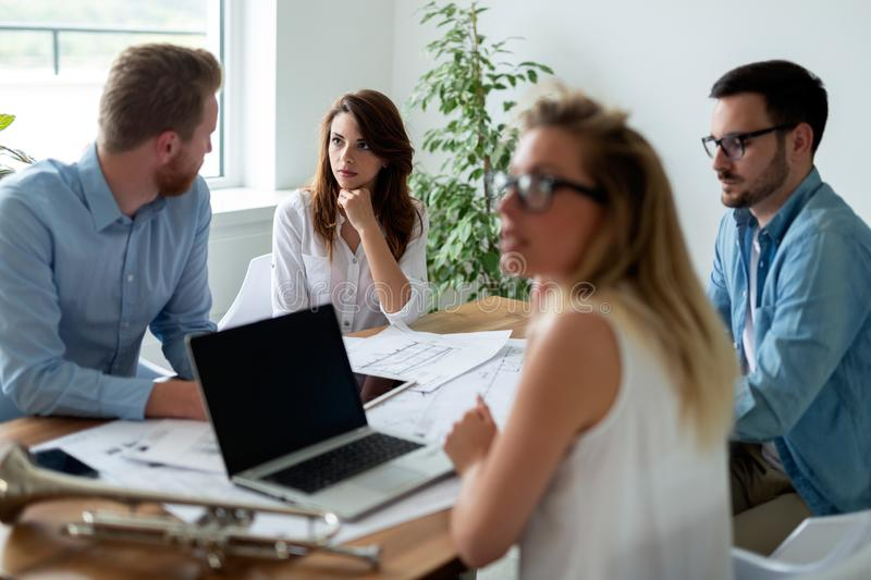 Group of architects and business people working together and brainstorming. Group of business people working together and brainstorming stock photography