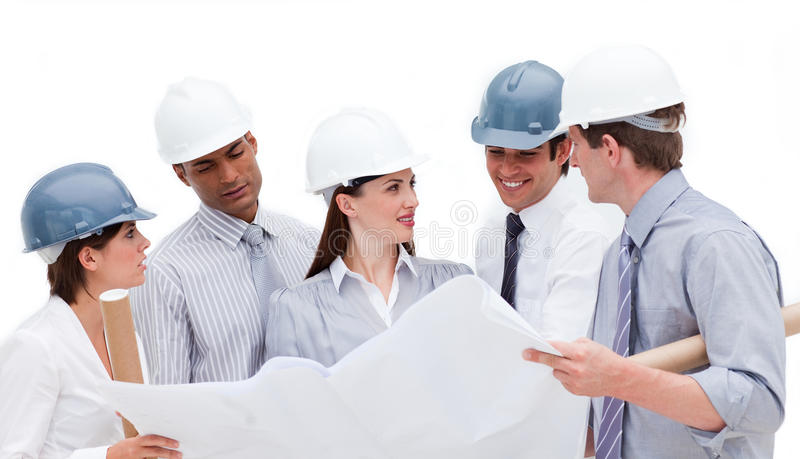 Download Group Of Architects Discussing A Construction Plan Stock Photo - Image: 12191306