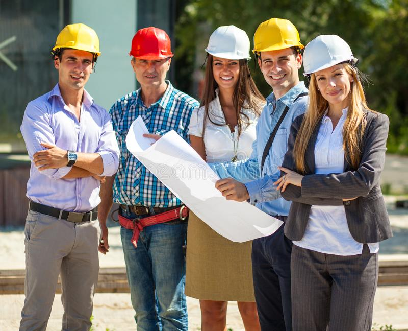 Group of architects and experts .Looking at camera. stock photography