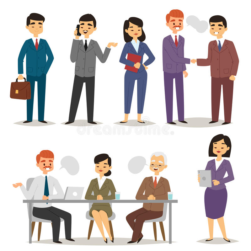 Group asia working executive chinese business people professional characters vector illustration. Success manager meeting colleagues worker occupation royalty free illustration