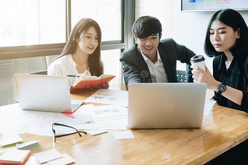 Group of Asian Business People with casual suit are working with royalty free stock photography