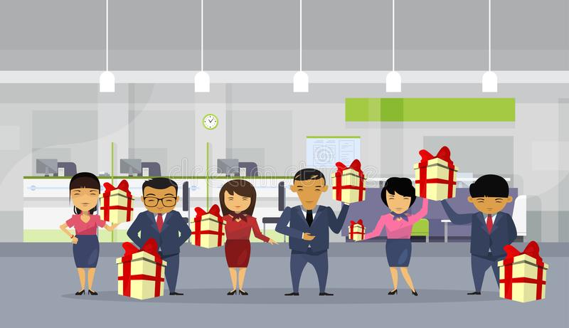 Group Of Asian Business People Hold Gift Boxes In Modern Office, Chinese Businesspeople Employees Team. Flat Vector Illustration vector illustration