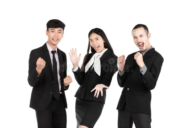 Group of asian business people isolated on white background royalty free stock photography