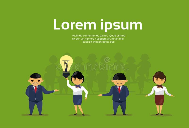 Group Of Asian Business People With Light Bulb New Idea Concept Creative Chinese Businesspeople Team. Flat Vector Illustration vector illustration