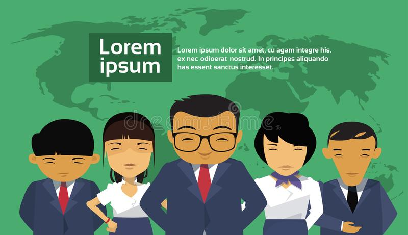Group Of Asian Business People Over World Map Background Wearing Suits Chinese Businesspeople Employees Team. Flat Vector Illustration stock illustration