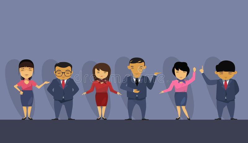 Group Of Asian Business People Wearing Suits, Chinese Businesspeople Employees Team. Flat Vector Illustration stock illustration