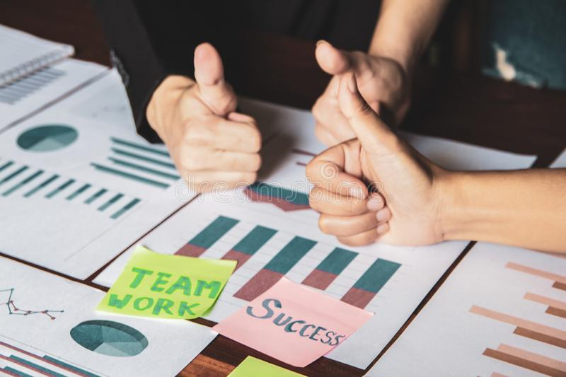 Group asian businessman together create a mutually beneficial business relationship. Teamwork royalty free stock photography