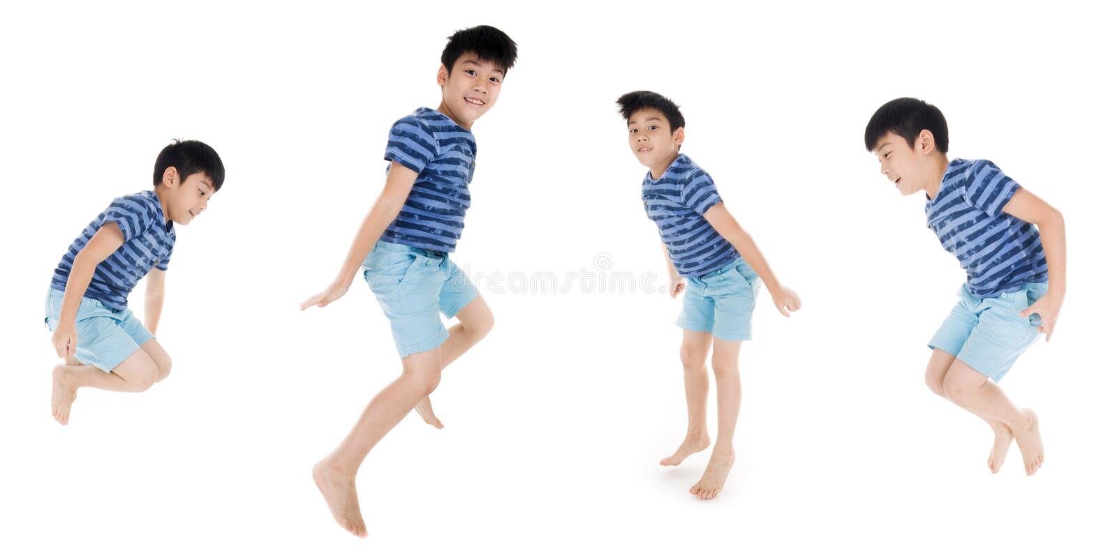 Group of Asian cute child is jumping on white background royalty free stock photo