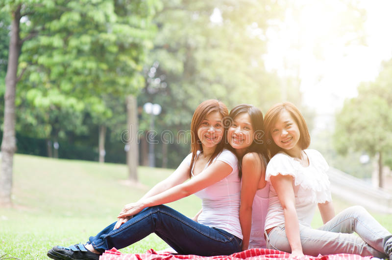 Group of Asian females outdoor stock photography