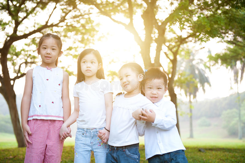 Group of Asian kids outdoor portrait. stock photography