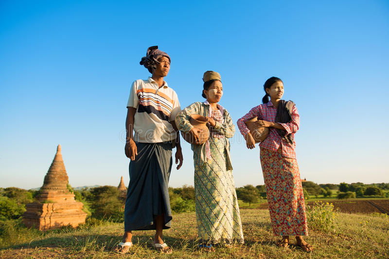Group Asian Myanmar traditional farmers stock photo