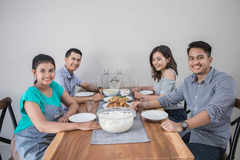 Group of asian people having lunch royalty free stock photos