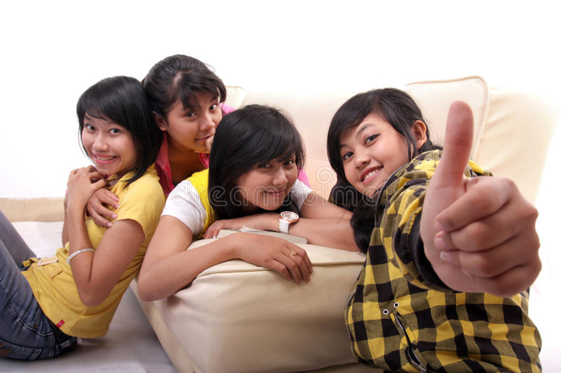 Group of asian student on sofa royalty free stock photos