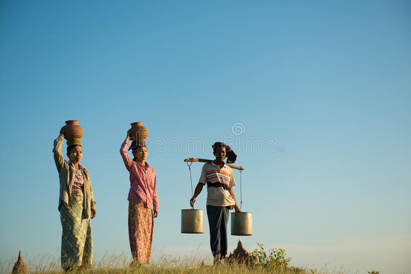 Group of Asian traditional farmers royalty free stock image