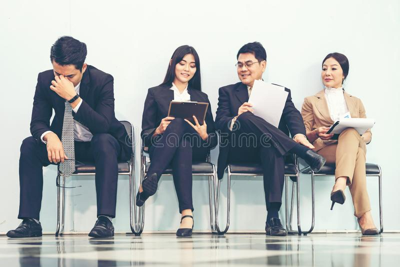 Group asian young and adult of asian people waiting for job interview recruitment. Business Life Concept stock photography