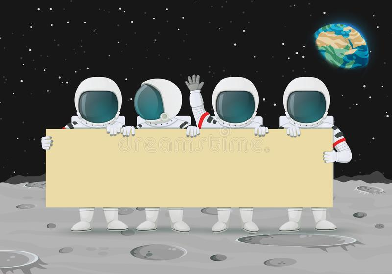 Group of astronauts holding a bid banner standing on a moon surface. Earth and stars in the background. Announcement, celebration, protest stock illustration