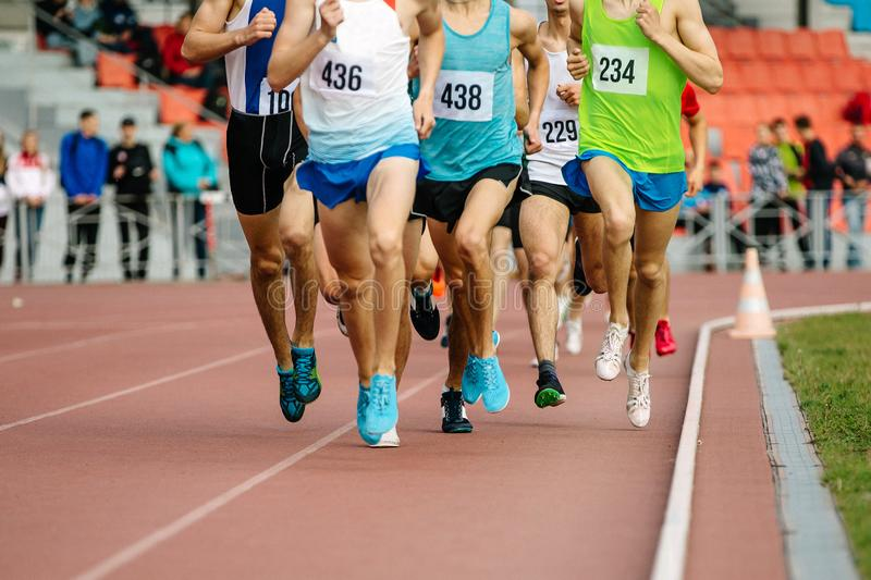 group of athletes runners middle distance stock image