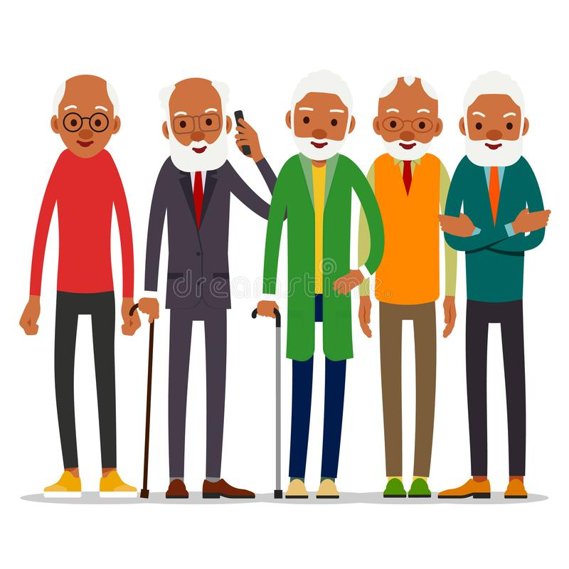 Group of attractive african old men. Older black seniors retired. Cute grandfather standing and smiling. Traditional retirement royalty free illustration