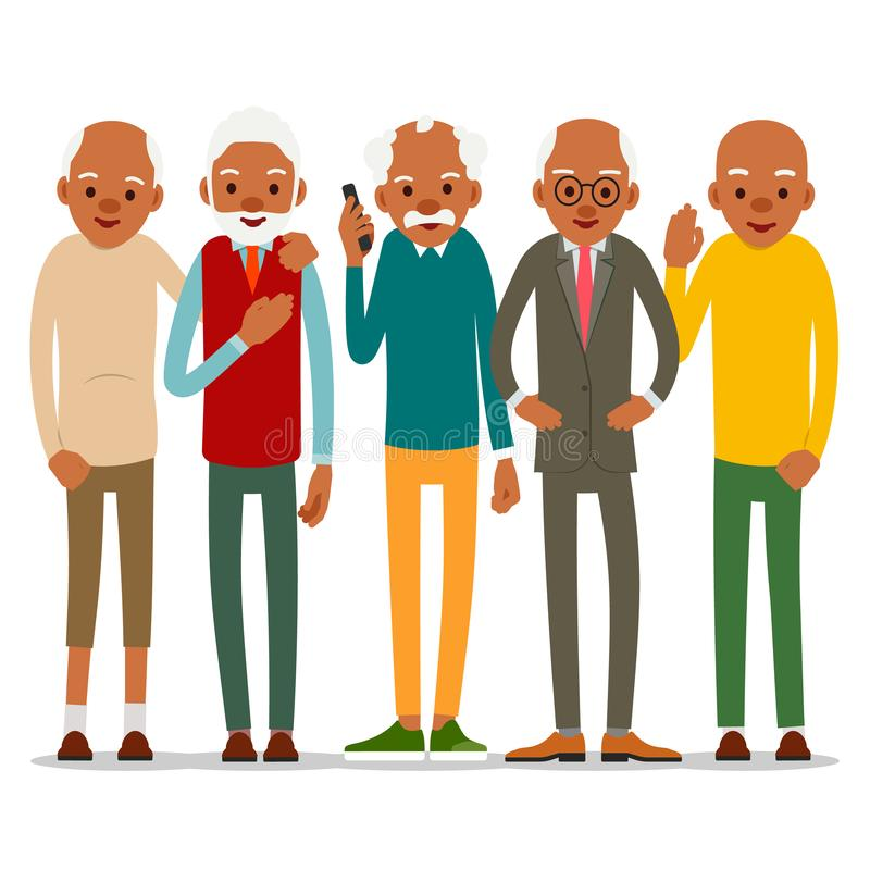 Group of attractive african old men. Older black seniors retired. Cute grandfather standing and smiling. Traditional retirement vector illustration