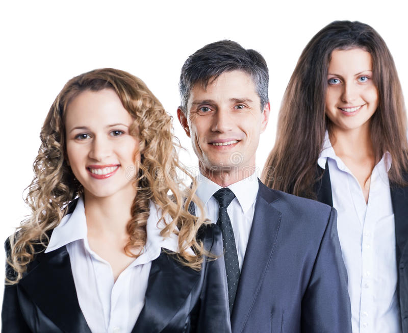 Group of attractive and successful business, ready for serious stock photography